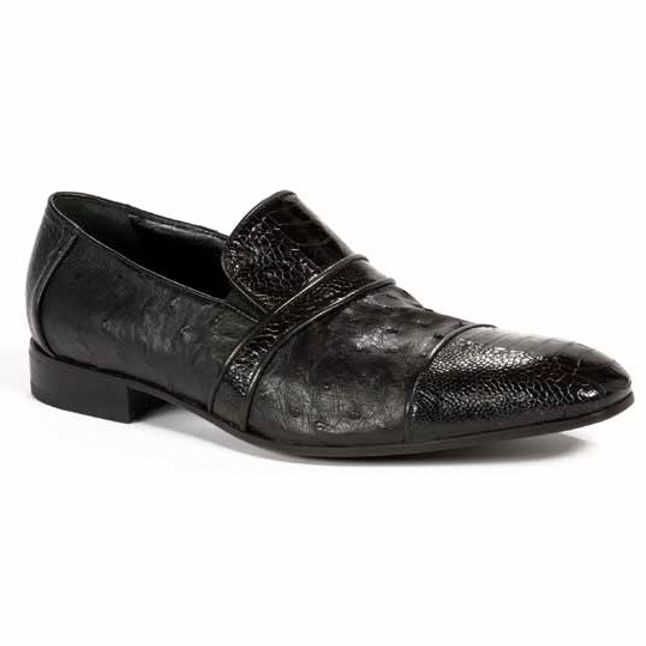 Mauri 4822 Ostrich Cap Toe Loafers Black (SPECIAL ORDER) Image