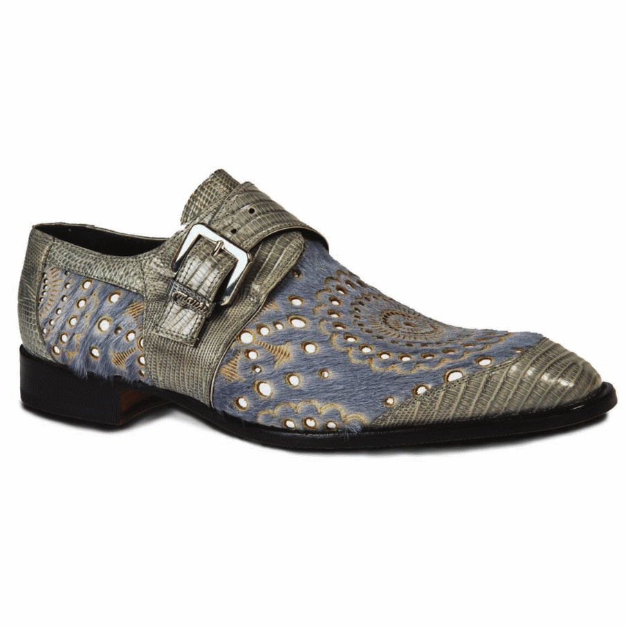 Mauri 4826 Ceruti Lizard & Pony Monk Strap Shoes Gray (Special Order) Image