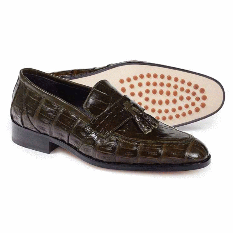 Mauri 4839 Bramante Crocodile & Alligator Tassel Loafers Olive Image