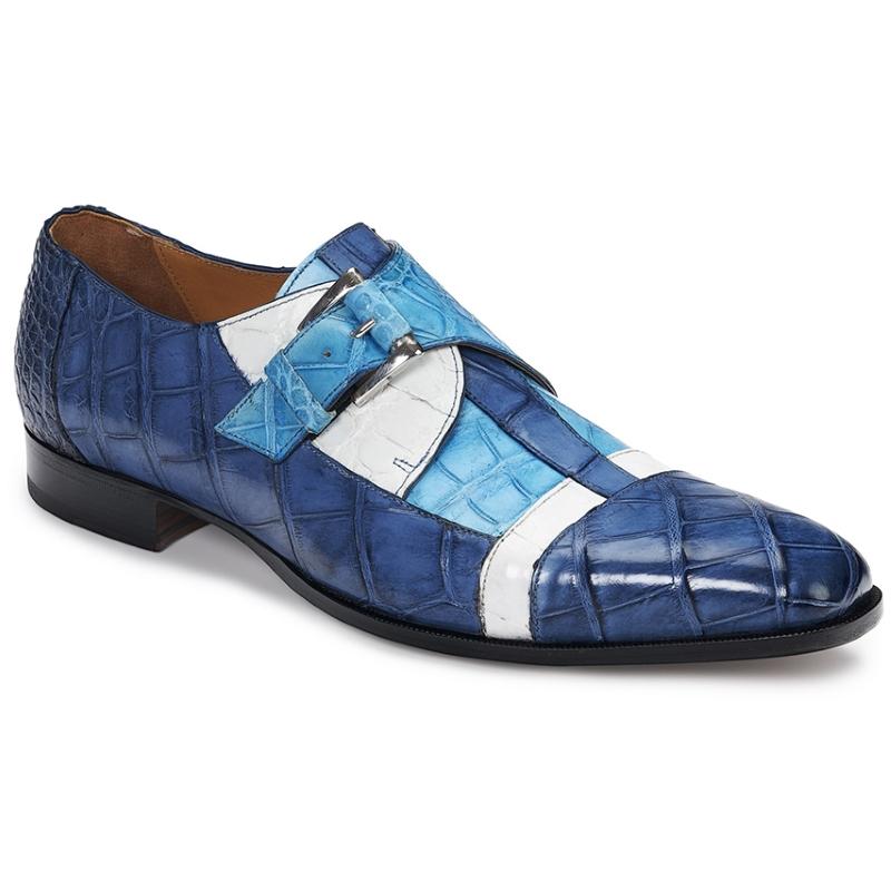 Mauri 4841 Alligator Monk Strap Shoes Caribbean Blue / White / Blue (SPECIAL ORDER) Image