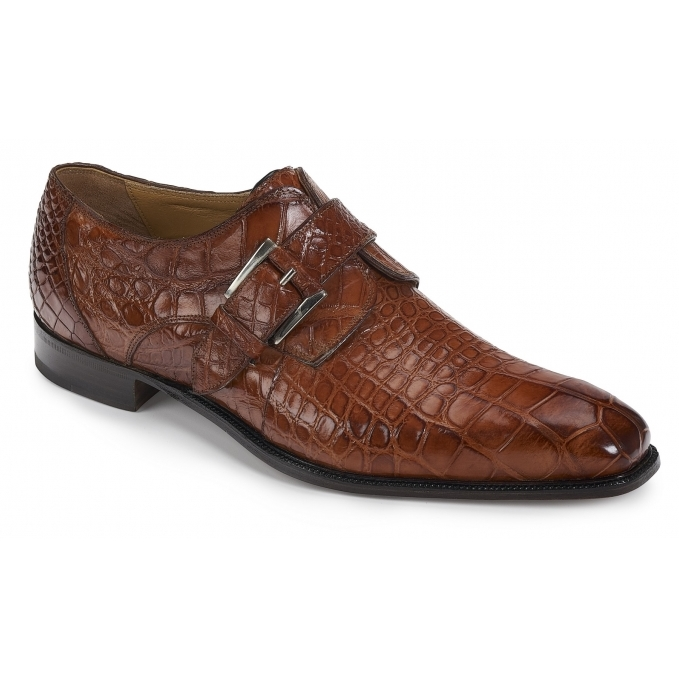 Mauri 4853 Agogna Alligator Monk Strap Shoes Gold Image