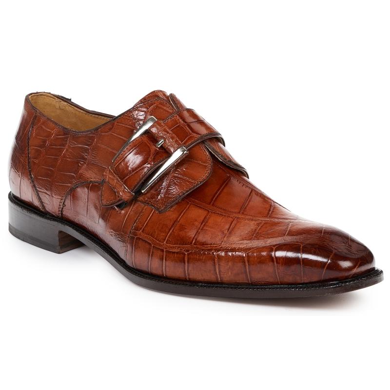 Mauri 4853 Alligator Monk Strap Shoes Gold Image