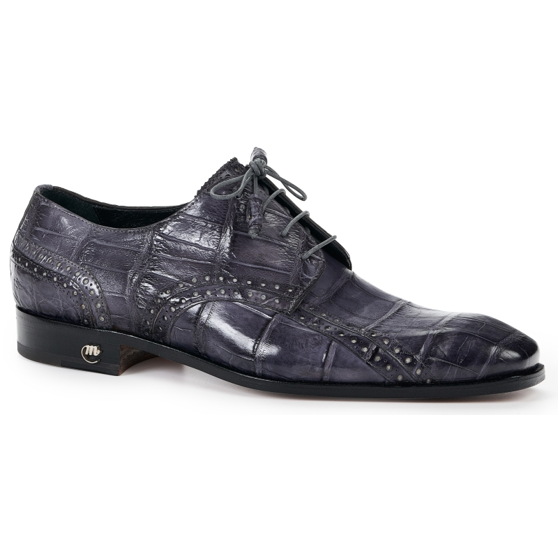 Mauri 4858 Alligator Derby Shoes Medium Gray Image