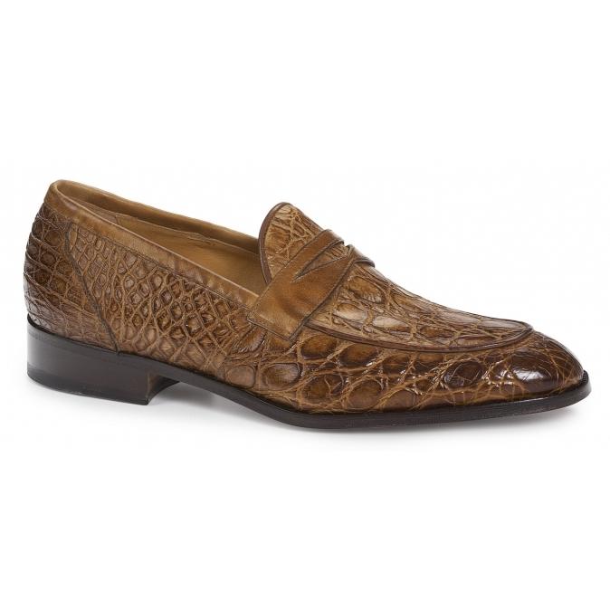 Mauri 4862 Tronto Crocodile & Calf Penny Loafers Brandy Image