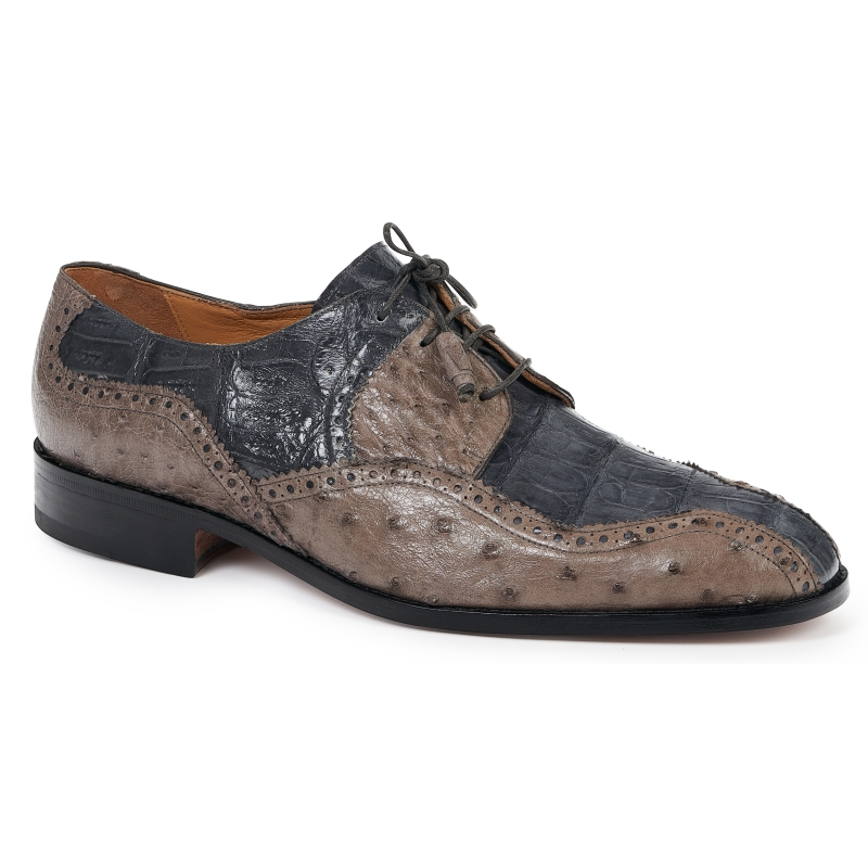 Mauri 4866 Crocodile & Ostrich Dress Shoes Gray / Pepper Image