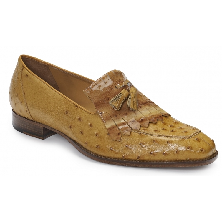 Mauri 4881 Taro Ostrich Quill Fringe Loafers Tabac Image