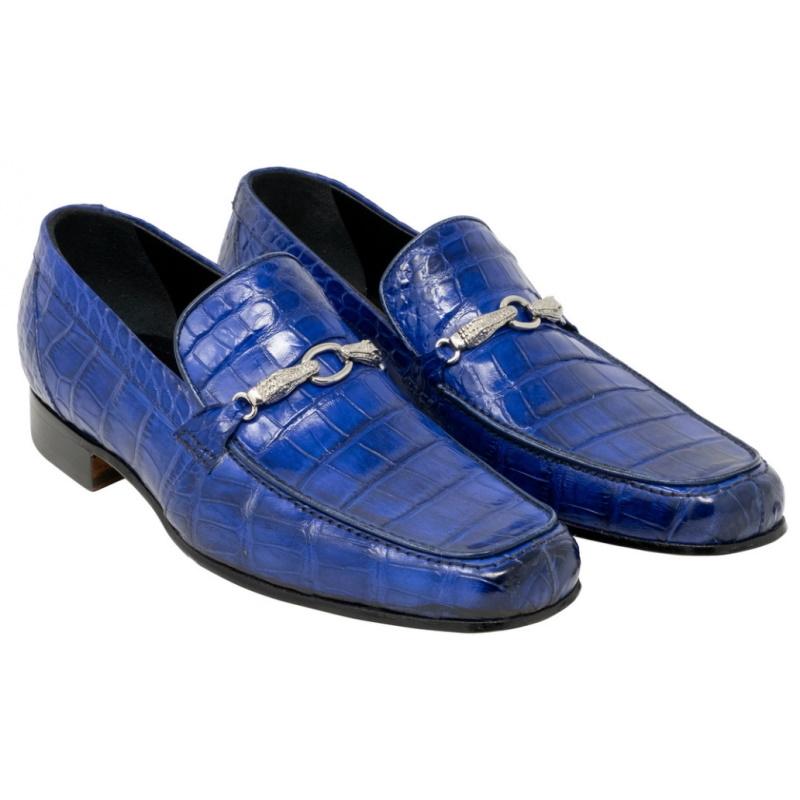 Mauri 4894 Regal Alligator Bit Loafers Royal Blue Image