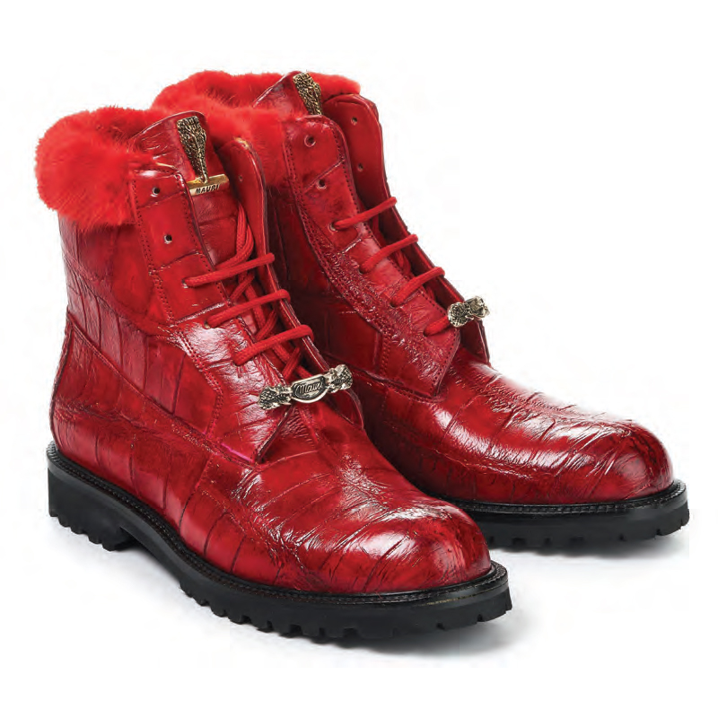 Mauri 4902 Luxury Alligator Baby Croc Boots Red (SPECIAL ORDER) Image