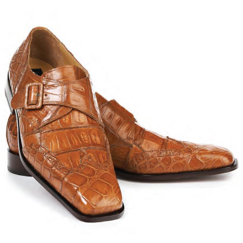 Mauri 4913 Preacher Alligator Baby Croc Dress Shoes Cognac Image