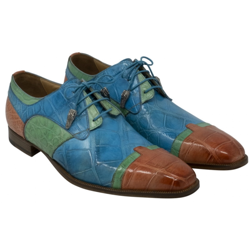 Mauri 4921 Stephen Alligator Derby Shoes Salmon / Emerald / Light Blue Image