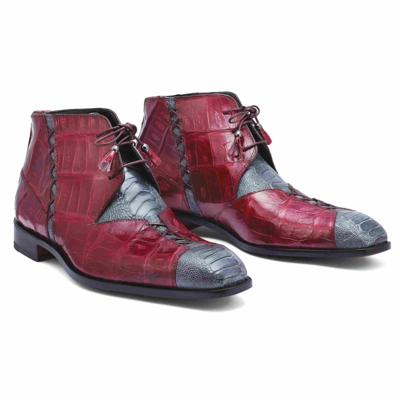 Mauri 4926 Harlem Ostrich & Crocodile Boots Gray / Ruby Red Image
