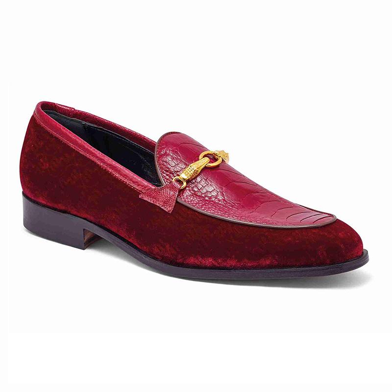Mauri 4932 Ostrich Leg / Embossed Velvet Loafer Ruby / Red Image
