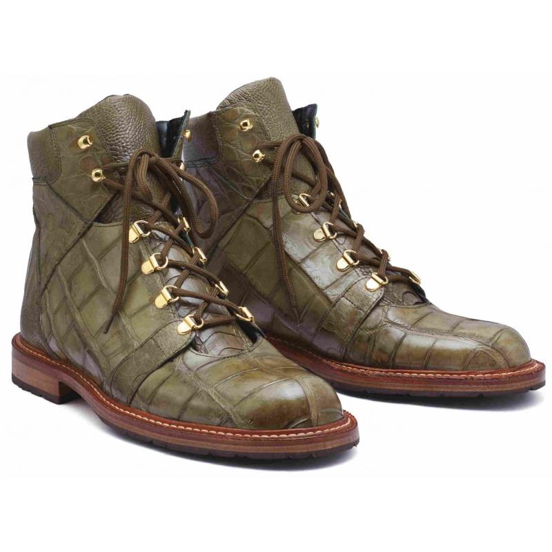 Mauri 4963 Pathfinder Alligator & Ostrich Boots Money Green Image