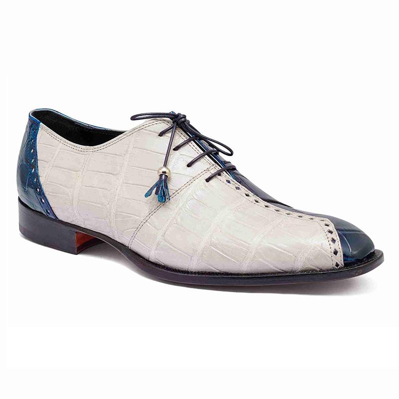 Mauri 4975 Body Alligator Shoes Blue / Cream Image