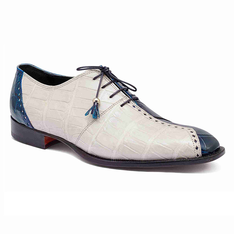 Mauri 4975 Body Alligator Shoes Blue / Cream (Special Order) Image