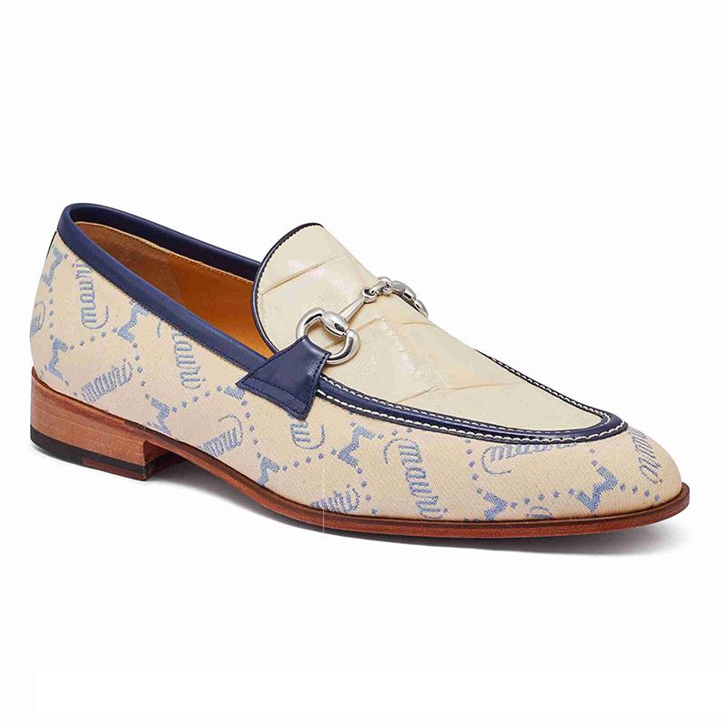 Mauri 4983 Alligator & Fabric Loafers Sky Lark / Cream / Indigo Blue (Special Order) Image