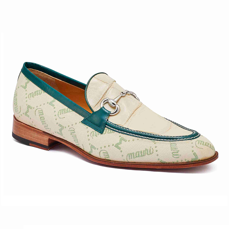 Mauri 4983 Body Alligator & Fabric Loafers Spring Green / Cream / Hunter Green (Special Order) Image