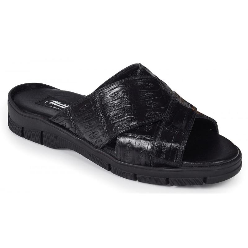 Mauri 5018 Cagnola Crocodile Sandals Black (Special Order) Image