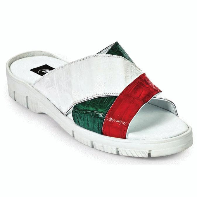 Mauri 5018 Cagnola Crocodile Sandals Italian Flag (Special Order) Image