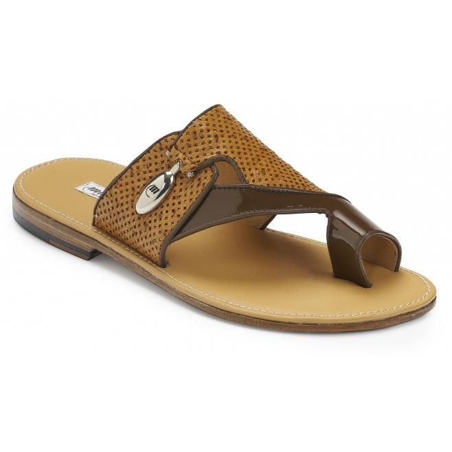Mauri 5021 Tagliamento Patent & Ostrich Sandals Land & Chestnut Image