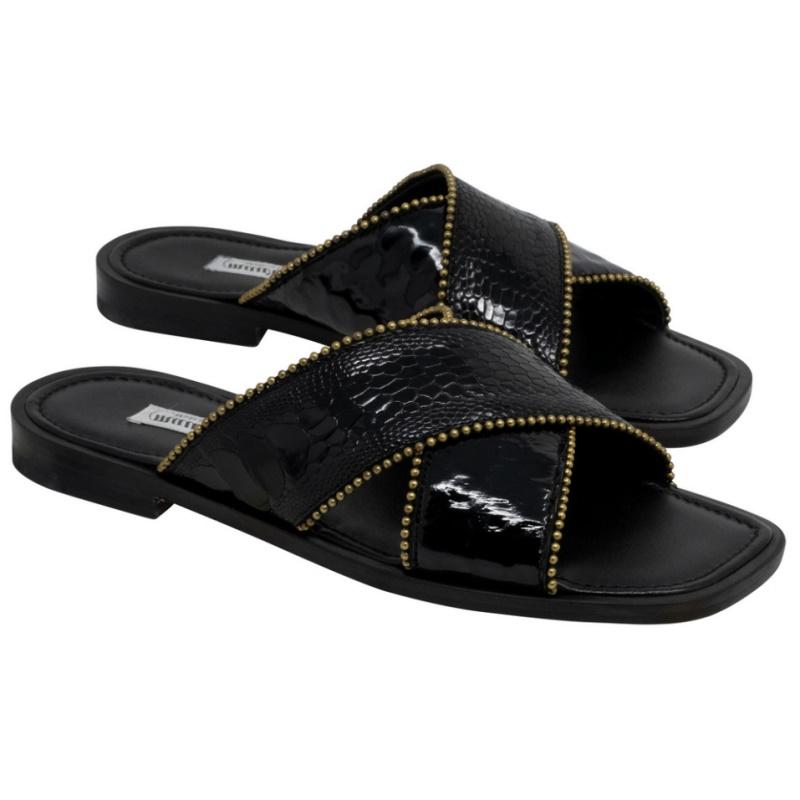 Mauri 5062 Luxor Ostrich Leg & Patent Sandals Black Image
