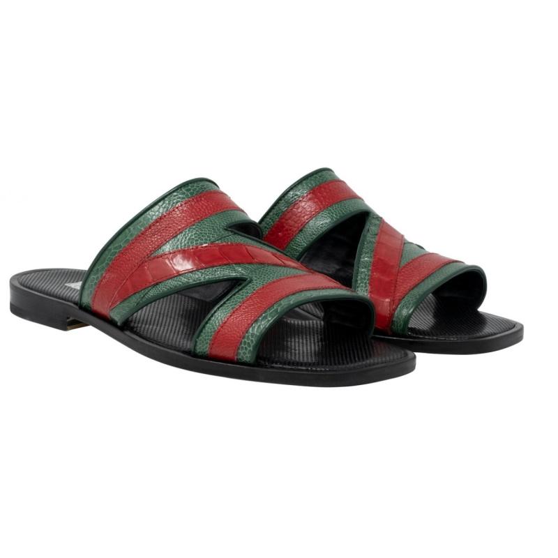 Mauri 5068 Sarasota Ostrich Leg Sandals Green / Red Image