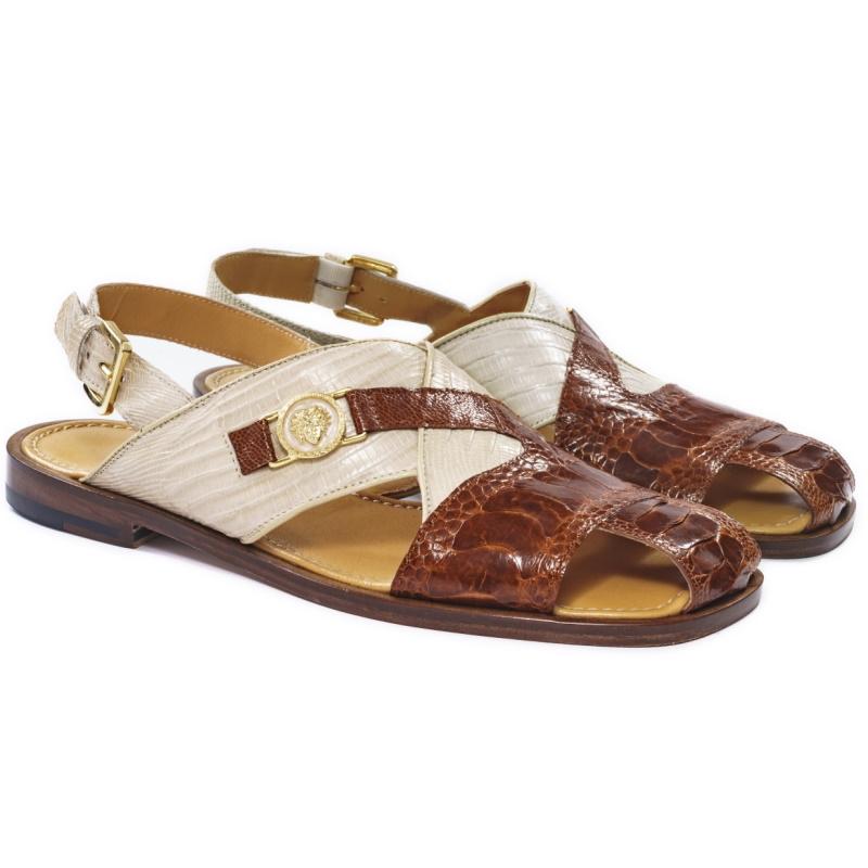 Mauri 5076 Romano Ostrich & Lizard Sandals Gold & Linen Image