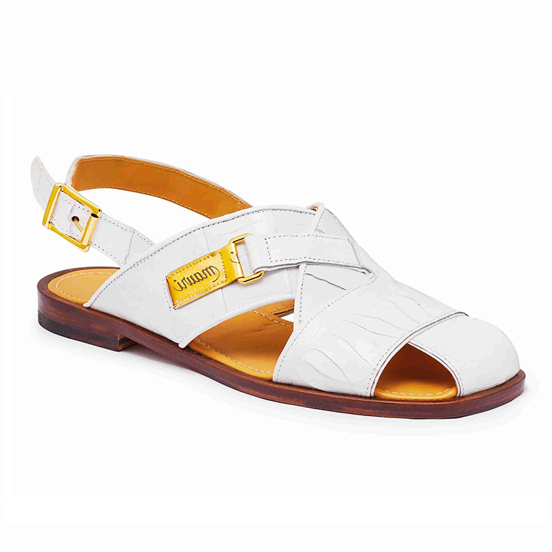 Mauri 5113 Baby Crocodile / Ostrich Leg Sandals White (Special Order) Image