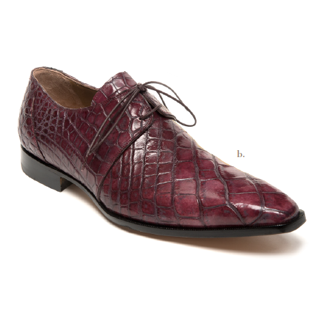 Mauri 53125 Body Alligator Dress Shoes Ruby Red / Gray  (Special Order) Image