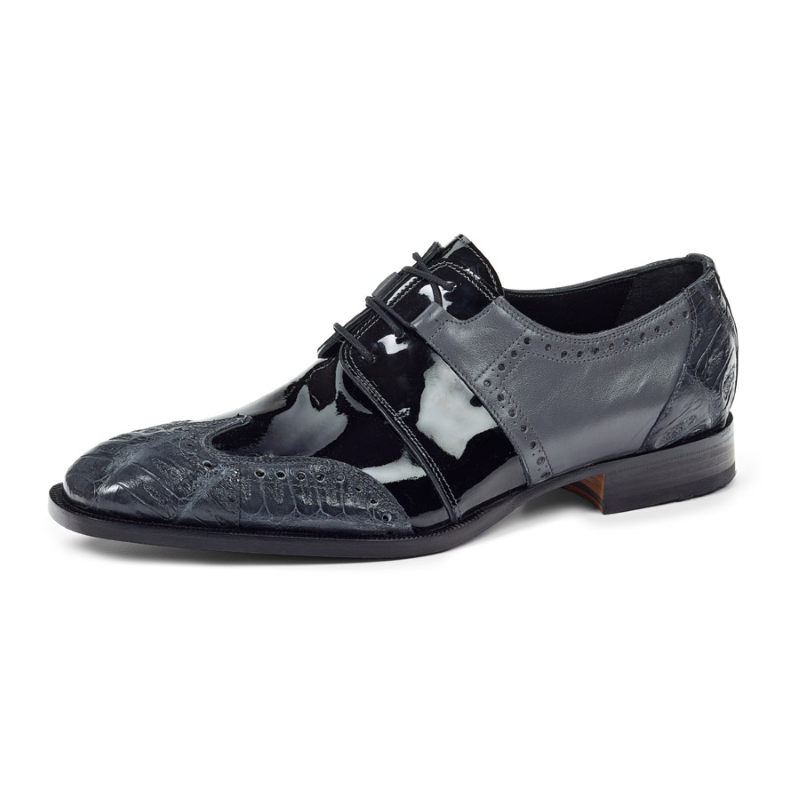 Mauri 53130 Baby Crocodile Wingtip Shoes Charcoal Gray (Special Order) Image