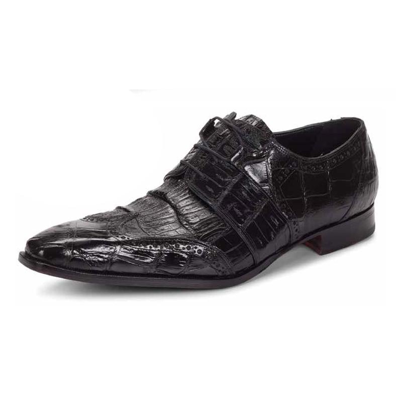 Mauri 53130 Como Alligator Wingtip Shoes Black (Special Order) Image