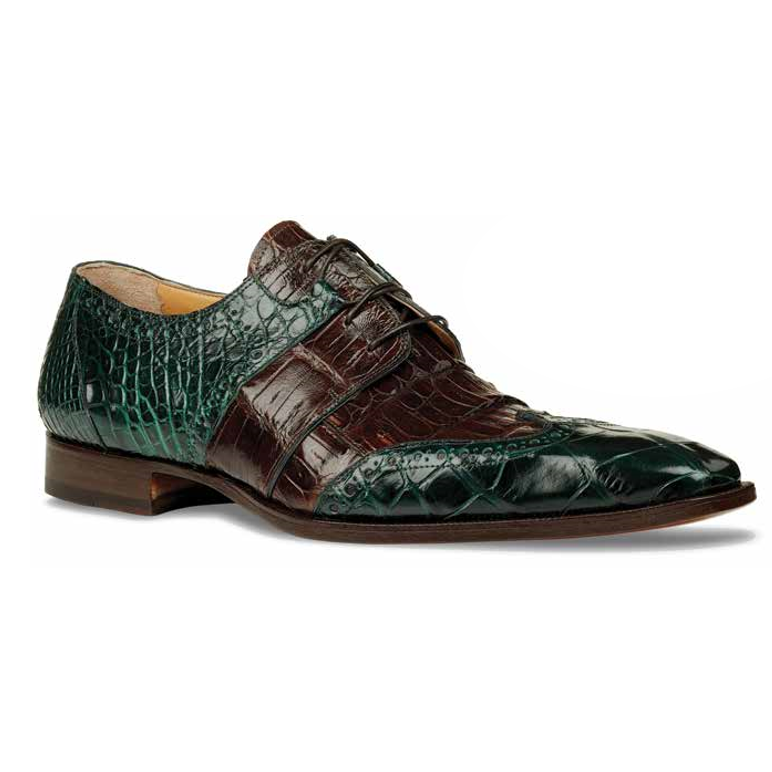 Mauri 53130 Como Alligator Wingtip Shoes Forest Green / Rust (Special Order) Image