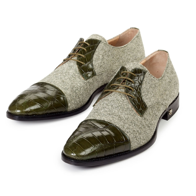 Mauri 53151 Brunico Alligator & Fabric Shoes Money Green (SPECIAL ORDER) Image