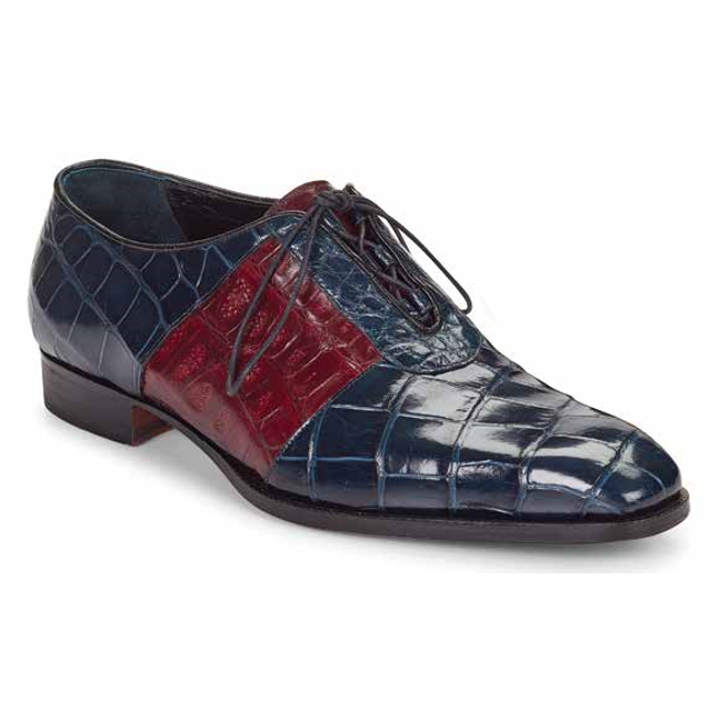 Mauri 53169 Giardini Alligator Oxfords Wonder Blue / Ruby Red (Special Order) Image