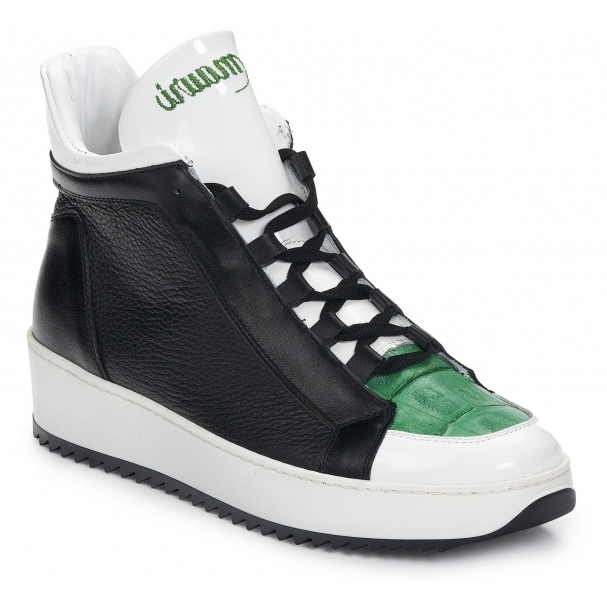 Mauri 6139 Patent & Croc Sneakers White / Green / Black Image