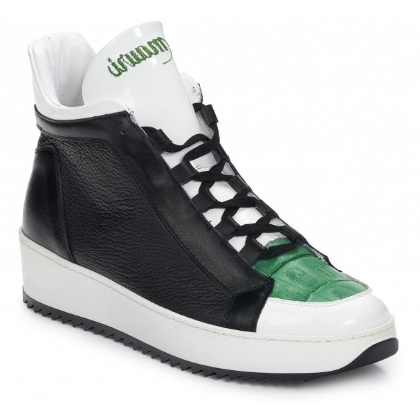 Mauri 6139 Patent & Croc Sneakers White / Green / Black Image