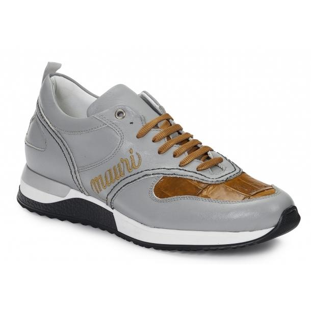 Mauri 6199 Ticino Calfskin & Crocodile Sneakers Gray / Corn Image
