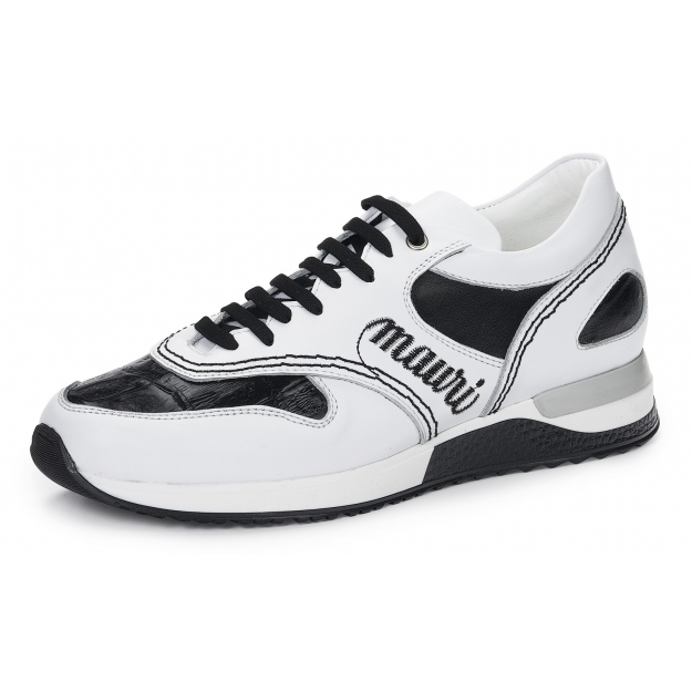 Mauri 6199 Ticino Calfskin & Crocodile Sneakers White / Black Image