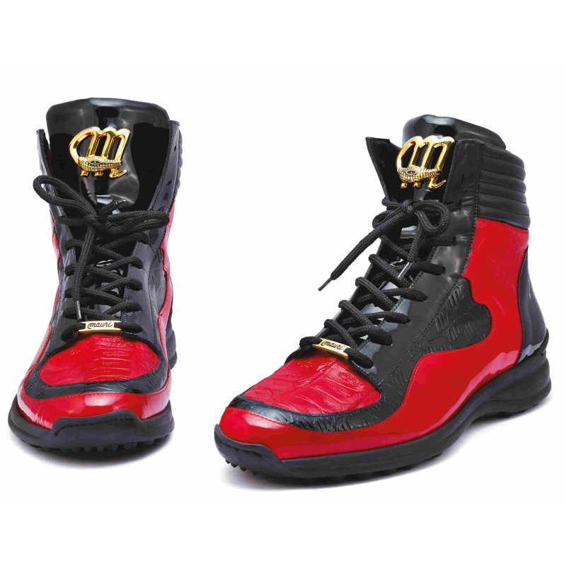 Mauri 8401 Flash Crocodile & Ostrich High Top Sneakers Black / Red Image