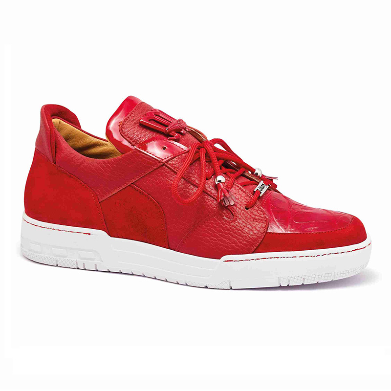 Mauri 8412 Suede / Baby Crocodile / Patent Sneakers Red Image