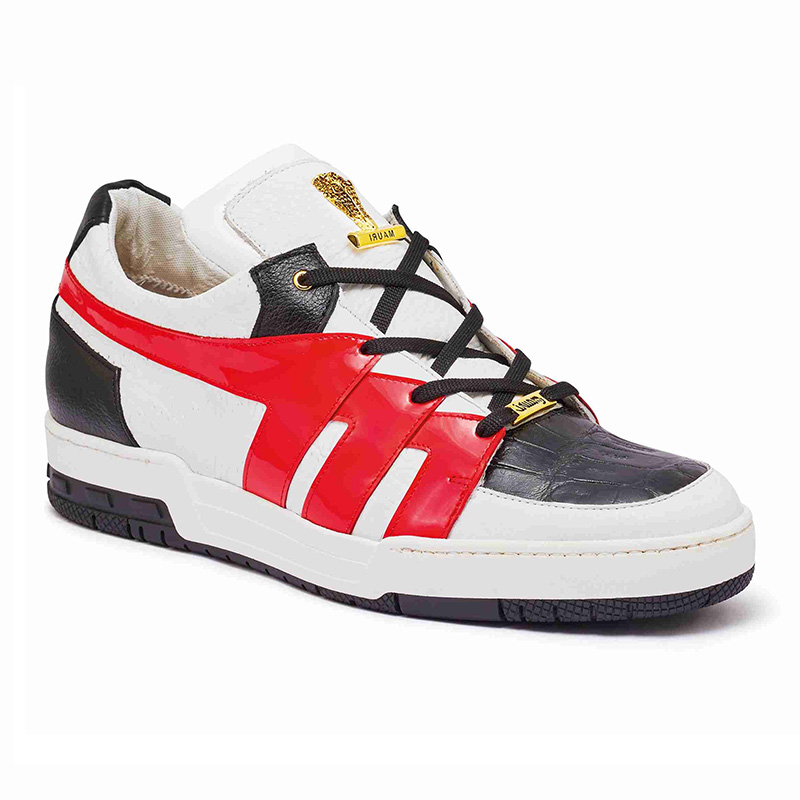 Mauri 8424 Baby Crocodile / Patent / Embossed Nappa Sneakers White / Black / Red (Special Order) Image