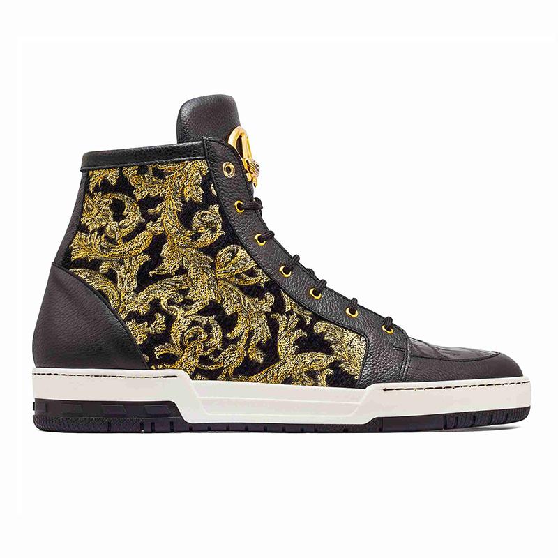 Mauri 8437 Baby Crocodile / Didier Fabric Sneakers Black / Gold Image