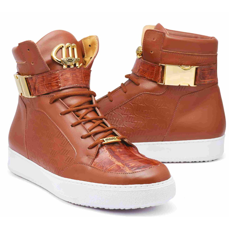 Mauri 8500 Crocodile / Patent / Nappa High Top Sneakers Cognac (Special Order) Image