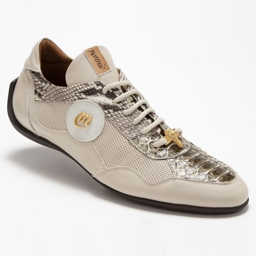 Mauri 8530 Titolo Nappa & Python Sneakers Cream / Olive (Special Order) Image