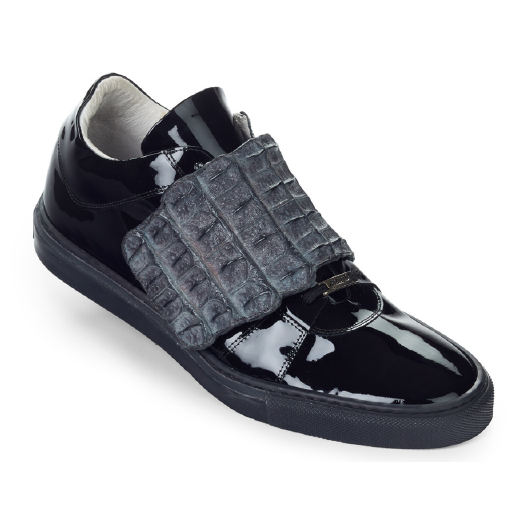 Mauri 8561 Patent Leather & Hornback Sneakers Black / Dark Gray (Special Order) Image