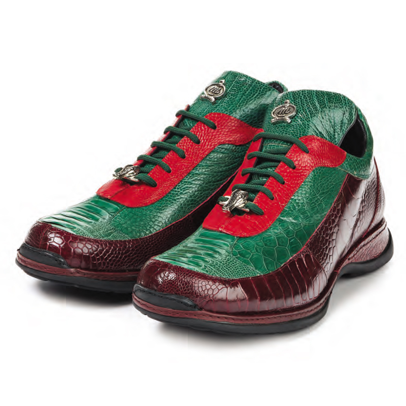 Mauri 8569 Eclectic Ostrich Leg Sneakers Red / Green Image