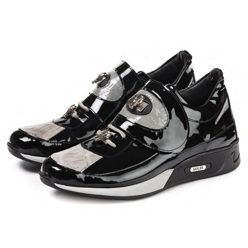 Mauri 8575 Rouge Patent Leather Baby Croc Sneakers Light Grey / Black (Special Order) Image