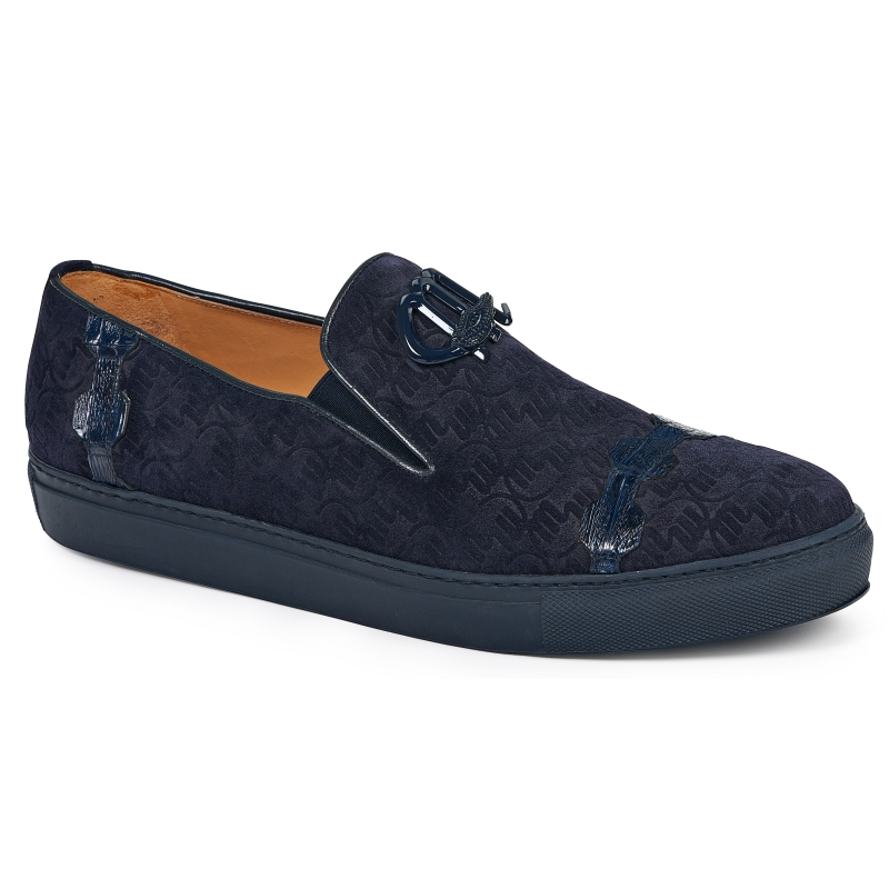 Mauri 8581 Embossed Suede & Crocodile Loafers Wonder Blue Image