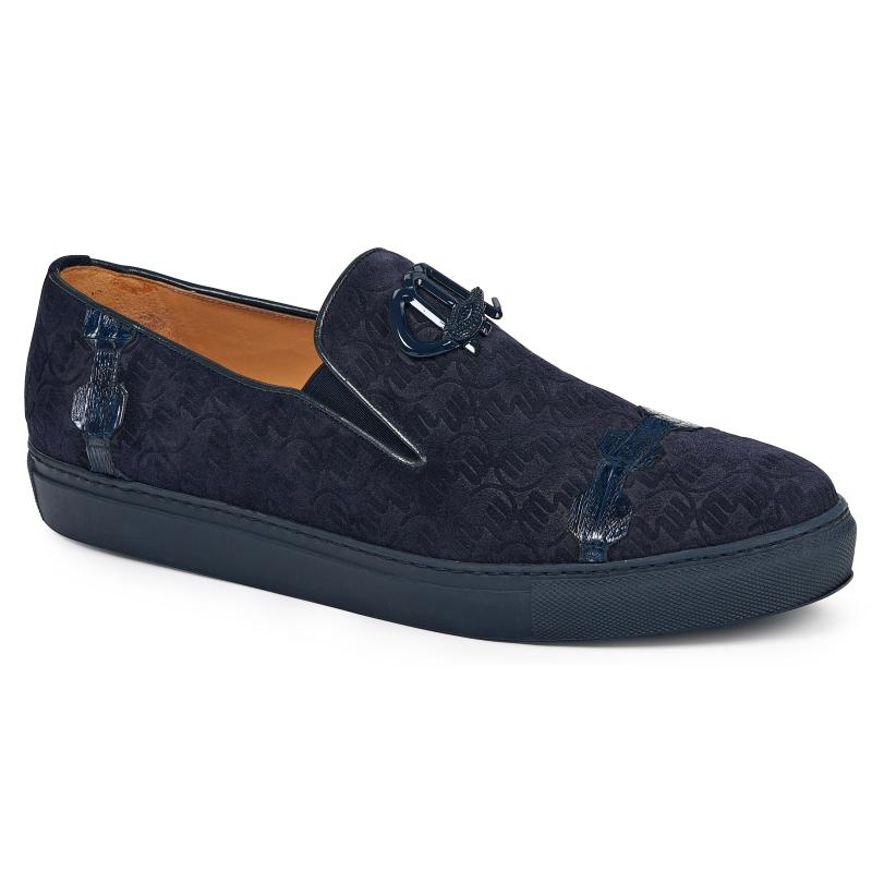 Mauri 8581 Embossed Suede & Crocodile Loafers Wonder Blue Image