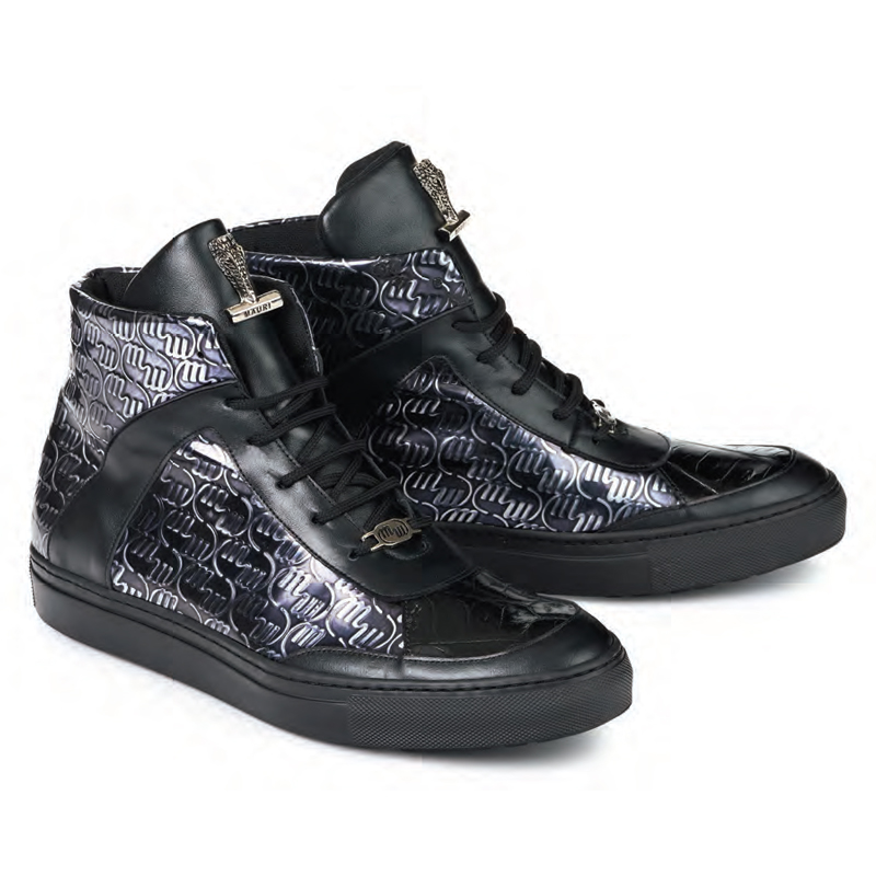 Mauri 8583 Heart Nappa Baby Croc Sneakers Black (Special Order) Image